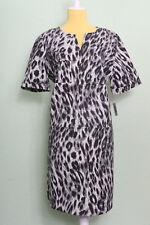 Anne Klein Degas Dress Sz 10 Grey / Black Short Sleeve Animal Shirt Dress Sheath