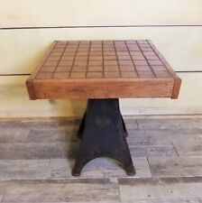 Industrial Reclaimed Wood End Table Int.Harvester Cast Iron Base Handcrafted