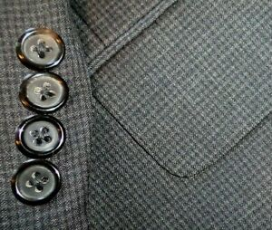 HICKEY FREEMAN mens suit GRAY CHECK PLEAT FRONT 44R 44 e54 - MINT