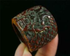 Antique Old Chinese Handcarved Archer's Thumb Ring POWERFUL TIGER ON SURFACE