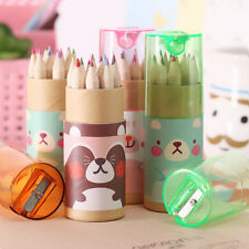 12Colors/Set  Mini Bear Cartoon Colored pencils Drawing With Pencil Sharpener