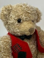 "Hallmark Plush Tan Teddy Bear 9"" Sitting Red Vest & Bow Tie Curly Stuffed Animal"