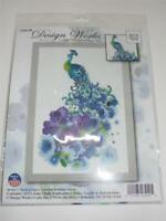 "DESIGNS WORKS Counted Cross Stitch Kit - PEACOCK - 8"" x 12"" Nicola Gregory"