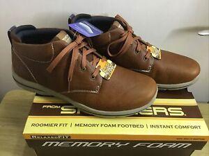 Skechers Harper Melden Leather Brown Memory Foam Boots Size UK 8 EUR 42