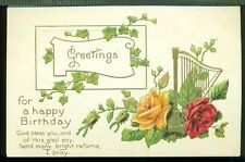HAPPY BIRTHDAY God Bless You and This Glad Day Harp Roses Vintage Postcard
