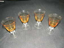 T H CROWN MARK YELLOW CLEAR CRYSTAL FOOTED FLUTED WINE BRANDY TUMBLER GLASS SET