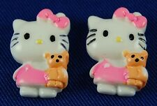 6 Hello Kitty Bear Pink White  Resin Flatbacks Scrapbooking Cabochons Bow Phone