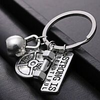 STRONG DUMBBELL WEIGHT Fitness Weightlifting Gym CrossFit Keychain Keyring Gift