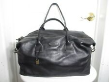 JOHN VARVATOS OVERNIGHT DUFFLE BAG – BLACK LEATHER HAND MADE IN ITALY $995+