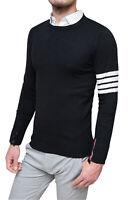 Maglione pullover uomo Diamond invernale nero slim fit cardigan golfino in lana