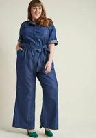 ModCloth Medium Blue Chambray Pockets Tab Sleeve Denim Long Jumpsuit NEW