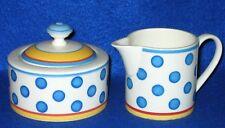 Villeroy & Boch Twist-Anna Creamer and Covered Sugar Bowl Blue Polka Dots