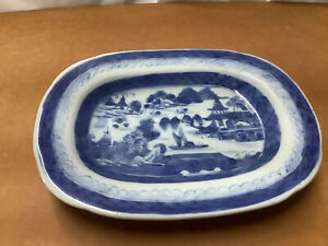 """Vintage Blue White Canton Chinese Oblong Dish 7.25"""" Long"""