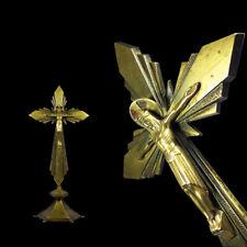 antikes ART-DECO~Bauhaus Ära~Kruzifix~Standkreuz~Kreuz~Messing~Bronze(?)~Vintage