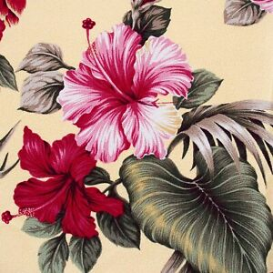 NUBBY Barkcloth Pink Red Hibiscus Yellow Tropical Drapery Fabric Hawaii Fronds