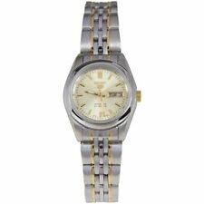 Seiko 5 Classic Ladies Size Gold Dial 2 Tone Gold Plated Stainless Steel Watch