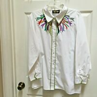 Bob Mackie Wearable Art shirt 2X w/ Ribbons LS White