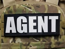 """3x8"""" AGENT Black White Hook Back Morale Raid Patch Badge SWAT for Plate Carrier"""