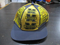 VINTAGE Michigan Wolverines Snap Back Hat Cap Yellow Blue Spell Out Mens 90s