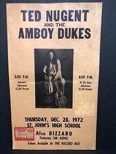 Vintage TED NUGENT & THE AMBOY DUKES Concert Poster 1972 Detroit RARE ORIGINAL