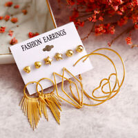 Fashion Tassel Gold Fringe Drop Dangle Earrings Set Women Ear Stud Jewelry New