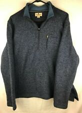 VTG Woolrich Men's 1/4 Quarter Zip Sweater Blue 100% Wool Fleece Lined Neck Sz L