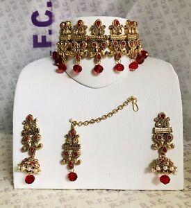 Gold Red Pearl choker necklace jhumka earring tikka indian Bridal Prom Pakistani