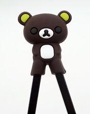 1 Pair Coffee Children Bear Design Kid's Easy Training Learn Rubber Chopsticks