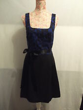 "NEW WITH TAGS BLACK & BLUE FLORAL DRESS WITH SATIN BOW - OOAK - SIZE 12 30""WAIST"