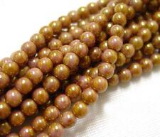100 Rose Gold Czech Glass Beads 4MM