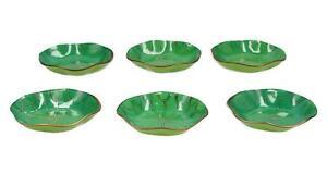 6 x enamel on metal lily pad / lotus leaf serving dishes Chinese Modern