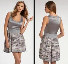 Diane von Furstenberg Dress Silk Size 10 NWT Printed Grey Meral Rose Party $385