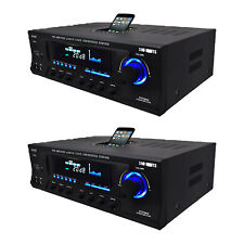 Pyle Pro 300W Home Amplifier Receiver Stereo iPod Dock AM/FM USB/SD (2 Pack)