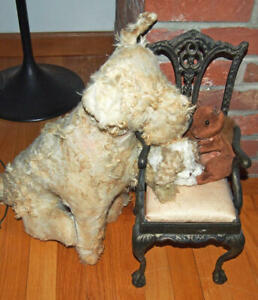 """Vintage Terrier Mohair Excelsior Stuffed Dog 22"""" Antique much loved"""