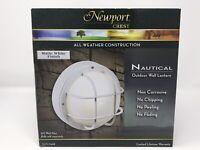 Newport Crest All Weather Construction White Nautical Outdoor Wall Lantern - NIB
