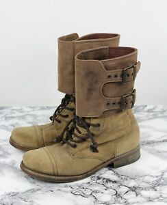 ALL SAINTS Beige Suede Leather DAMISI Military Combat Boots, Size EU 37 / UK 4