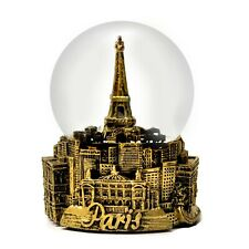 100mm Water Globe B-Sliver Red Copper Nice Pies Paris Eiffel Tower Snow Globe Retro Music Box with Colorful Lights Automatic Snowflake Top Decoration Souvenirs Collection