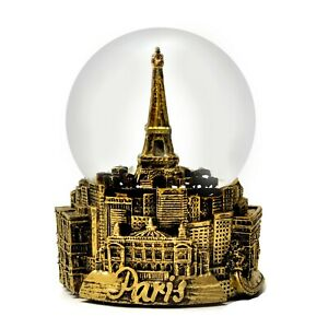 PARIS FRANCE EIFFEL TOWER  IN GOLD TONE - EXCLUSIVE 65MM SNOW GLOBE-NEW