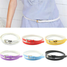Women Laies Fashion Narrow Skinny Thin Patent Leather Buckle Waist Belt TDCA
