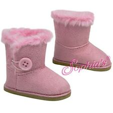Pink Boots Fur Trim Button Winter Shoes fit 18 inch American Girl Doll Clothes
