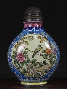 Chinese Flower Bird Hand Painted Copper Enamel Snuff Bottle