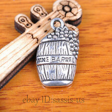 50pcs 19mm Charms wine barrel Pendant Tibet Silver DIY Jewelry Making Bail A7375