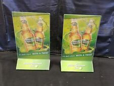 2 Rare DOUBLE SIDED Bud Light Lime TABLE TOP BEER ADVERTISING SIGN & MENU HOLDER
