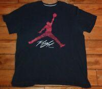 Nike Air Jordan Jumpman Flight Black RED rare Men's Basketball T Shirt Size XXL