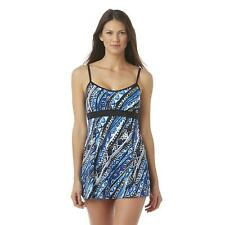 A SHORE FIT! Women's Swim Dress - Tribal Print, Size: 10,  Black/Blue/White