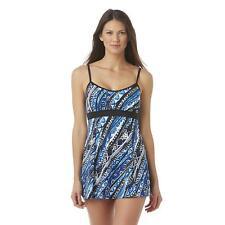 A SHORE FIT! Women's Swim Dress - Tribal Print, Size: 8,  Black/Blue/White