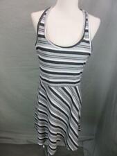 TEHAMA SIZE M WOMENS GRAY/BLACK STRIPED ATHLETIC STRETCH FLARE TANK DRESS T744