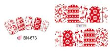 Nail Art Water Decals Stickers Christmas Red Reindeer Tree Snowflakes BN673
