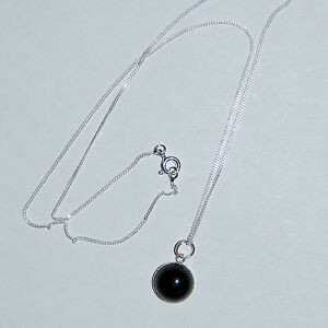 """Black Onyx Gem Necklace Sil Plate Pendant 18"""" Sterling Silver Chain. Top quality"""