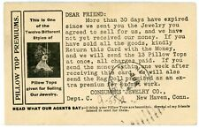 Postcard - Consumers Jewelry Co. Reminder to Send Money for Consignments - 1902